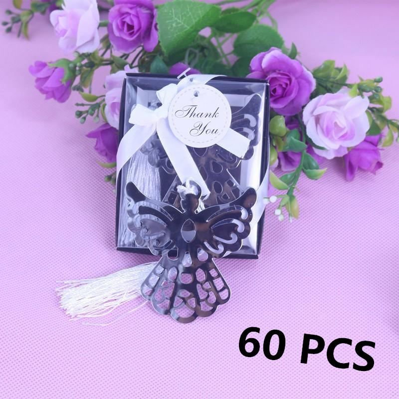 Party Favor Angel Silver Metal Bookmark Boxed For Baptism Baby
