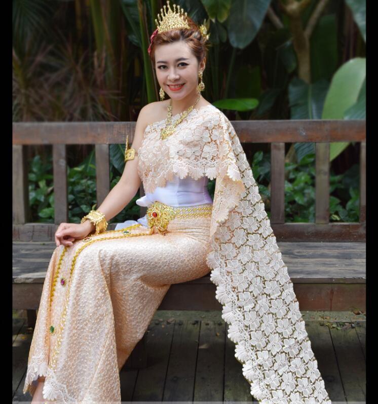 864d1193522 Acheter Robe Ethnique Asiatique Dai Princesse Thaïlandaise Comprend Écharpe  Style Traditionnel Photo Studio Photo Mariage Éclaboussures Robe  Thaïlandaise ...