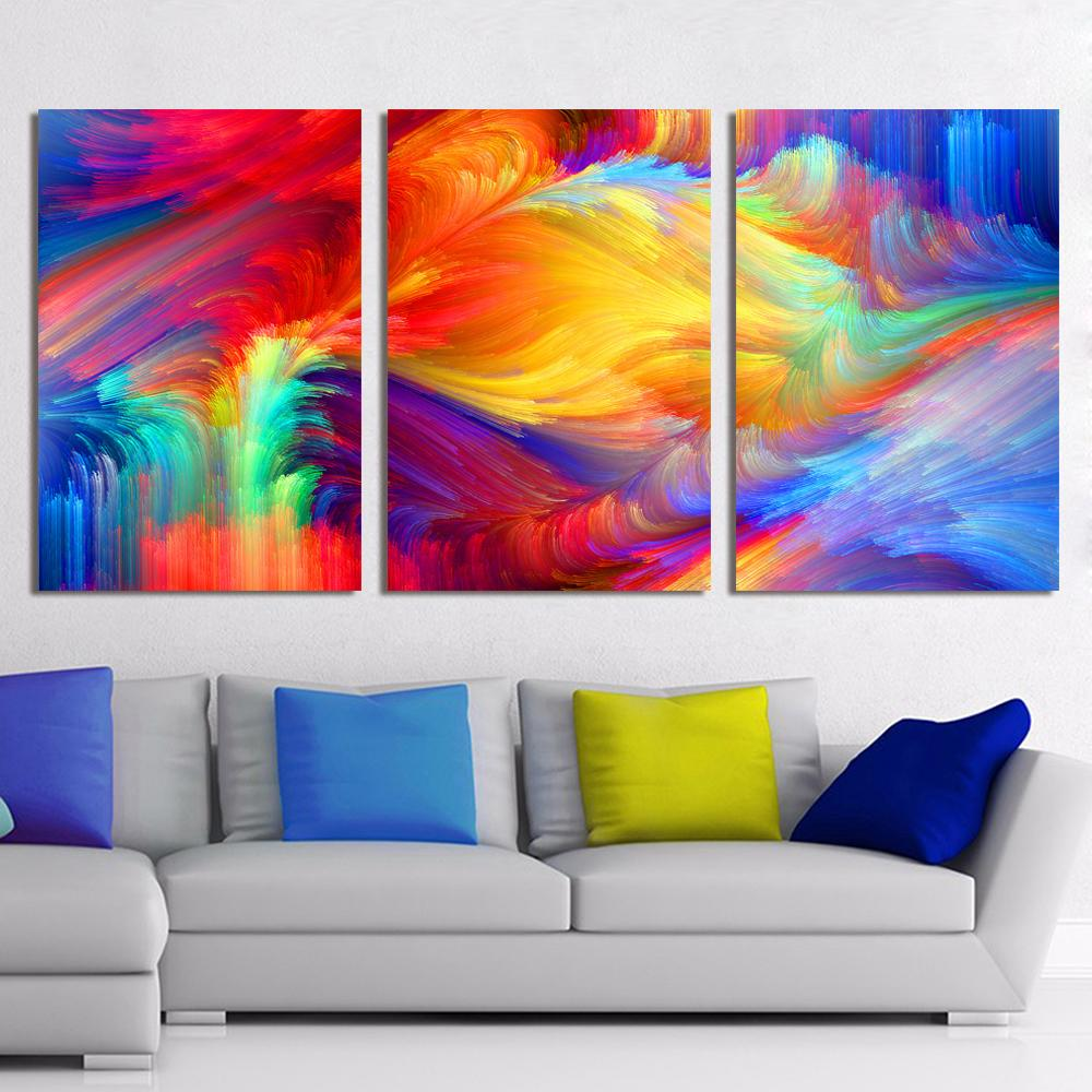 Canvas Art Abstract Painting Spot The Pattern Paint The Rainbow Home  Decoration Wall Pictures For Living Room Y18102209