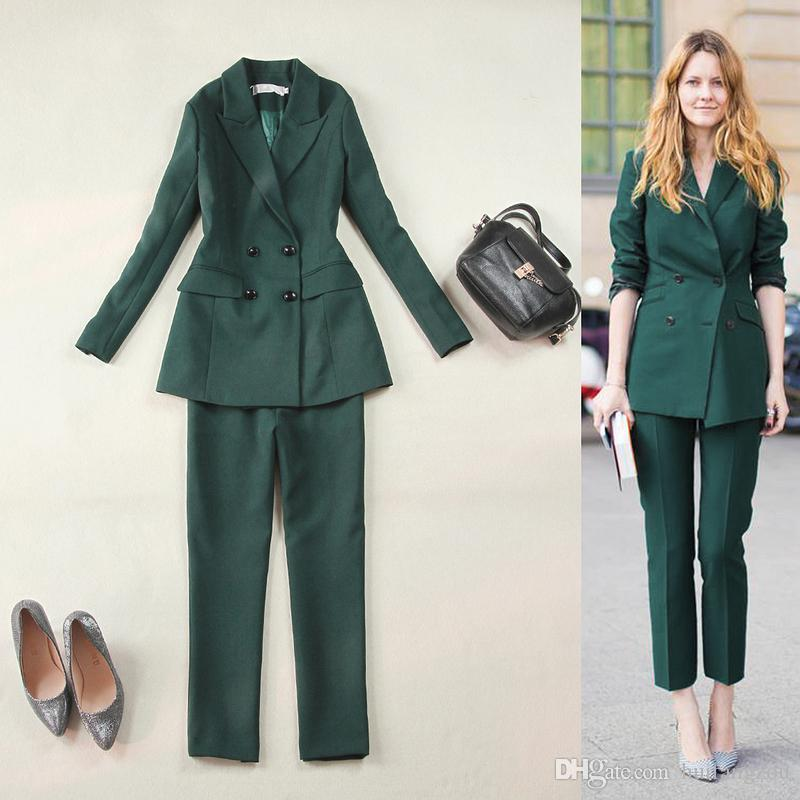 Hot Selling Olive Green Ladies Suits For Women Business Suits Formal Wear Blazer And Pant Sets ...