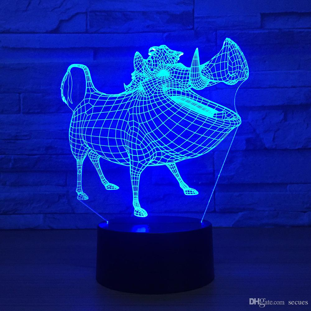 Pig 3D Optical Illusion Lamp Night Light DC 5V USB Powered Battery Wholesale Dropshipping Free Shippin