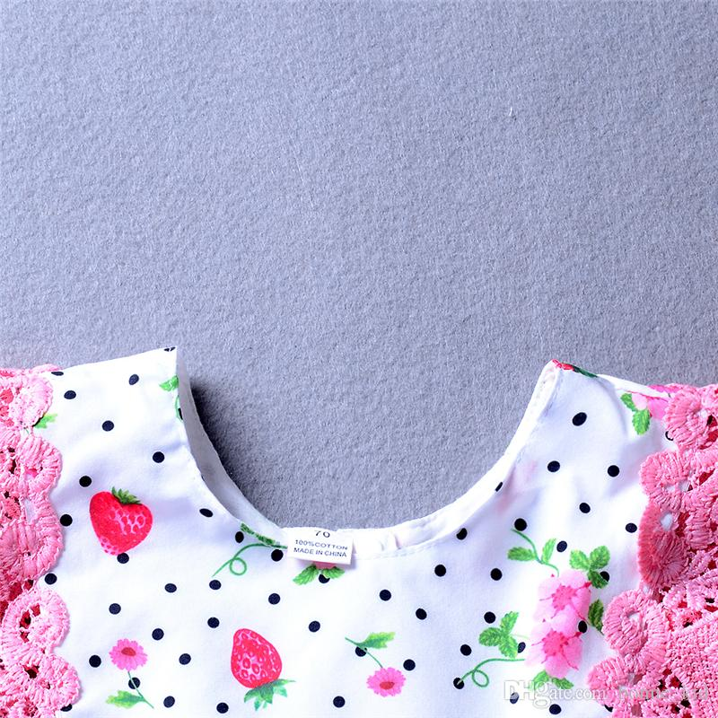 Newborn baby girl strawberry flower romper jumpsuit with ribbons kid clothing girls adorable floral dot pink bodysuit sunsuit 3-18M