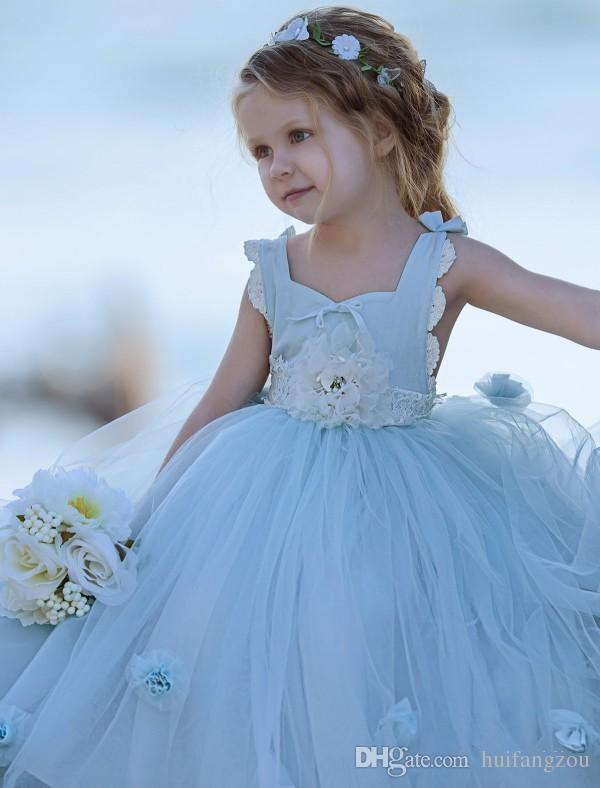 Adorable Light Sky Blue Little Girls Princess Dress For Party Weddings Kids Spring Wear Baby Toddler Tulle Gown With Handmade Flowers