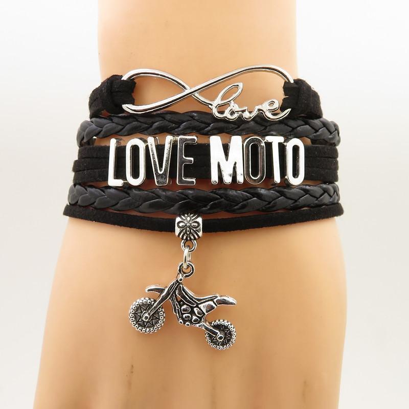 493a683a2ef6 Compre Amor Moto Pulsera Encanto De La Motocicleta Moto Motocross Bikers  Regalo Pulseras Brazaletes De Cuero Para Mujer Y Hombre Regalo De La  Joyería A ...