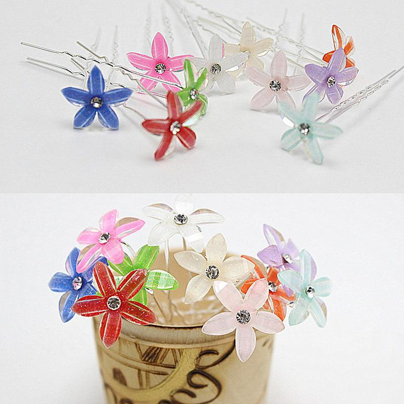 Women Wedding Fancy Hairstyles Jewelry Colorful Crystal Flower Hairpins Headpiece U Shaped Bulk Hair Pins Clips HP088