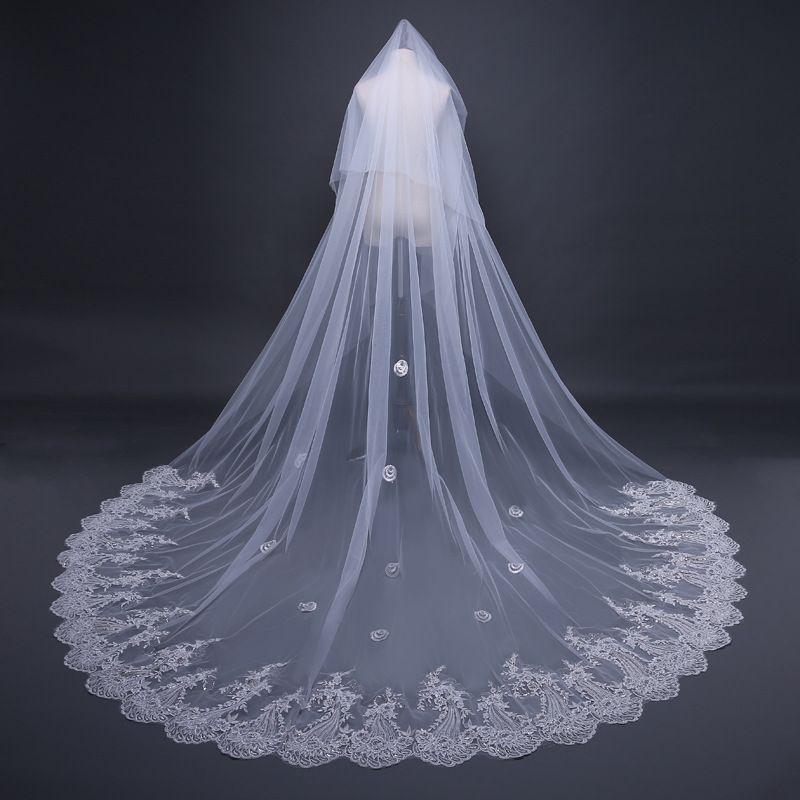 2018 Uzun Gelin Peçe Kadınlar Katedrali Düğün Peçe Narin Pullu Dantel Tül Gelin Peçe Gelin Aksesuarları