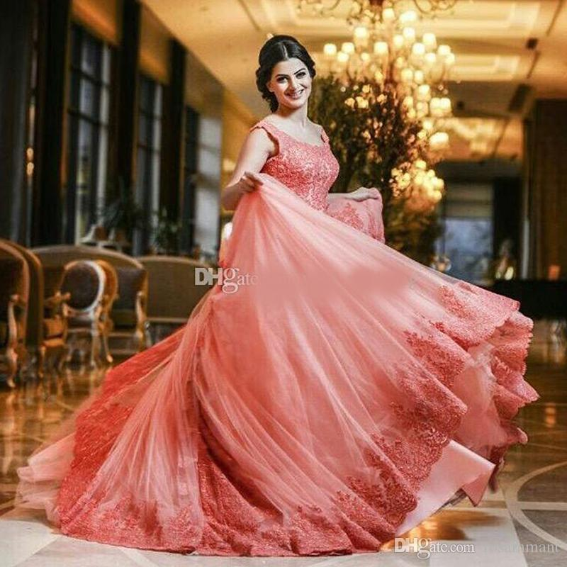 Coral Pink Ball Gown Quinceanera Dresses Scoop Cap Sleeves Lace Appliques Tulle Plus Size Watermelon Prom Dresses Sweet 16 Dresses