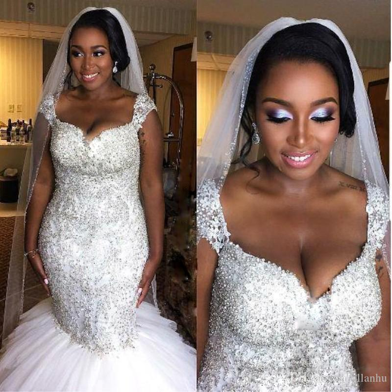Plus Size Luxury Dubai African Black Girls Mermaid Lace Wedding Dresses 2018 Spaghetti Strap Ruffles Sequined Wedding Dresses Bridal Gowns