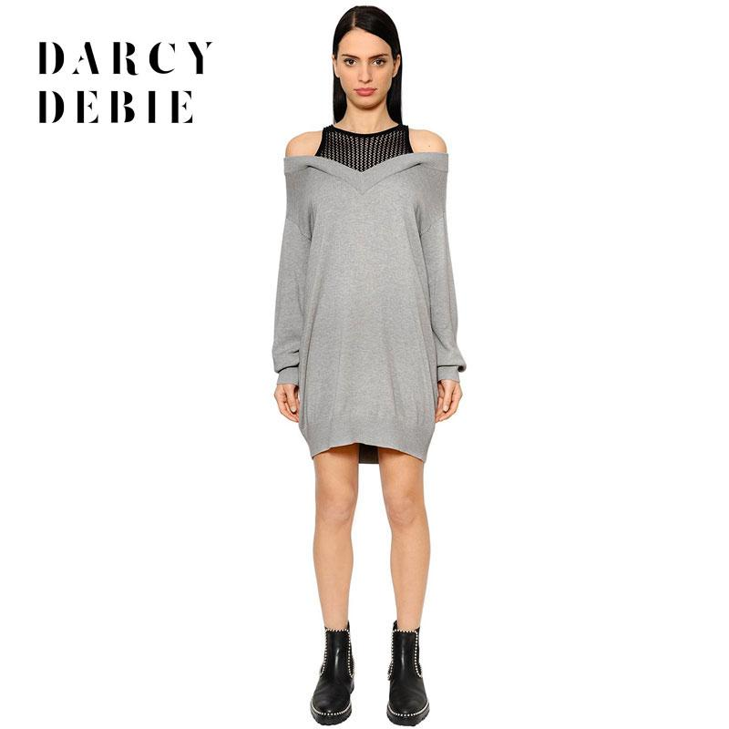 dc1a4c61924 2019 Darcydebie Autumn Women Fashion Sweet O Neck Full Sleeve Dew Shoulder  Patchwork Hollow Out Knitted Sweater Dresses Vestidos From Meizuang