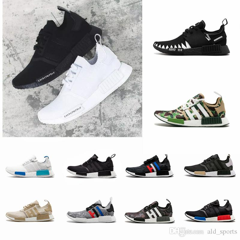 sneakers for cheap 724db 31edb 2018 NMD R1 Oreo Runner Japan Nbhd Primeknit OG Triple Black White Camo  Running Shoes Men Women Nmds Runners Xr1 Sports Trainers Size 5-11