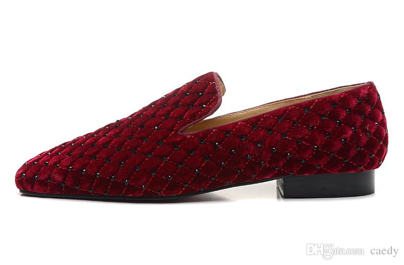 Handmade men leather shoes with crystal Fashion same style men loafers red bottom men's oxfords shoes