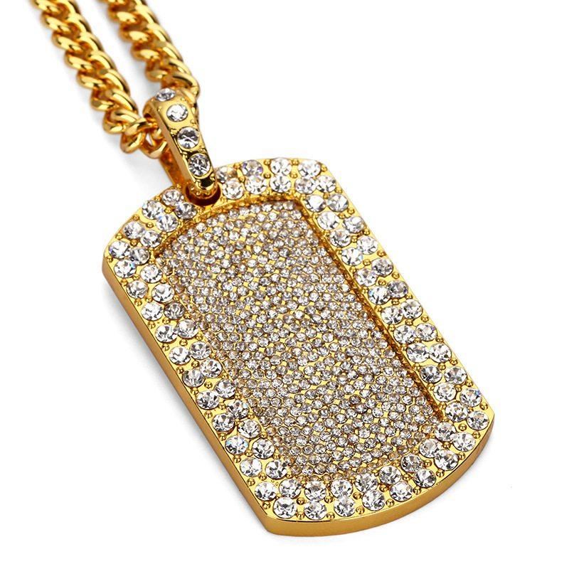 Full Diamond Dog Tag Pendant Necklace Luxury 18K Gold Plated Hip Hop Blingbling Iced Out Jewelry Paved Rhinestone Crystal Necklaces