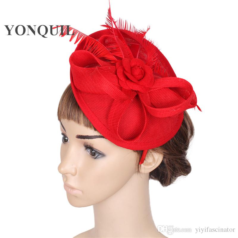 6f21c9a8b44 Fashion Floral Fascinator Red Wedding Hat Base Black Headbands Chapeau  Female Occasion Millinery Hats Rose Flower Hair Accessories SYF23 Red  Wedding Hat ...