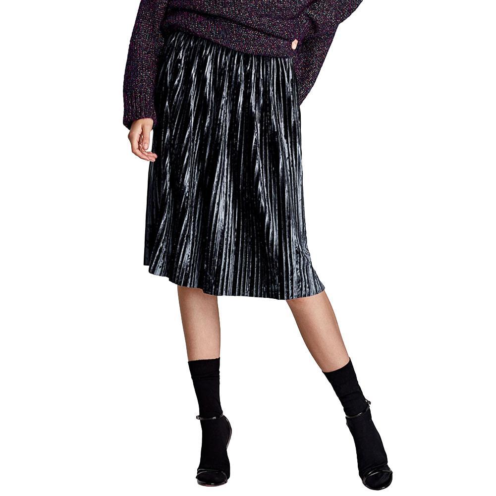 d18f361835c326 Vintage femmes velours jupes plissées contraste rayures sportives élastique  taille haute jupe mi-longue décontractée noir / gris foncé jupes en ...