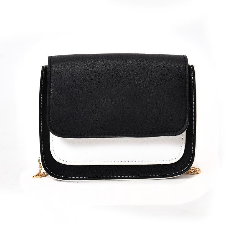 3e087b3d64 PU Leather Metal Chain Hit Color Ladies Girls Casual Crossbody ...