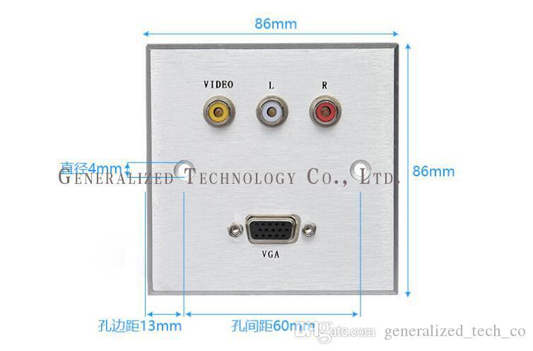 Multimedia Desktop Socket / Aluminium-Panel, Multifunktions-Buchse, mit Video / VGA, Verwendung für Hotel / Officer versandkostenfrei
