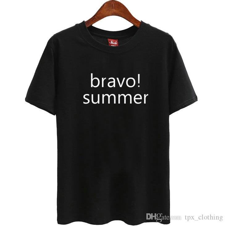 Bravo t shirt Cool words summer short sleeve gown Street leisure tees  Unisex clothing Pure color cotton Tshirt