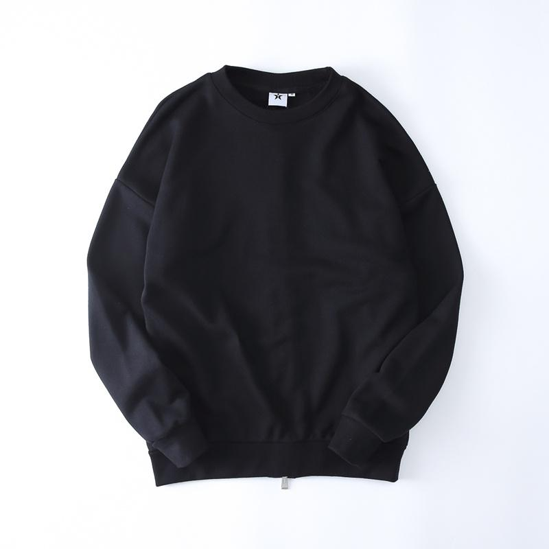9d97f97c Streetwear Blank Pullover Men s Sweatshirt 2017 Winter Back Zipper Solid  Color Kpop Hip Hop Sweatshirts Men Black White