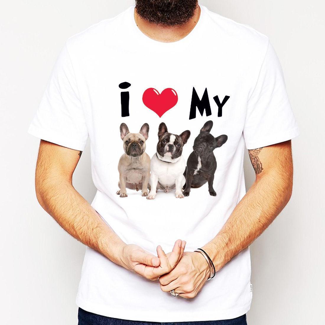 Großhandel Ich Liebe Meine Französische Bulldogge Tier Hund Katze Verrückt  Niedlich Party Geschenk Männer T Shirt Anzug Hut Rosa T Shirt Retro Vintage  ... 4182afd50e
