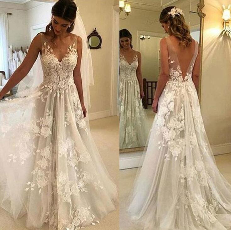 Discount Vintage Lace Wedding Dresses 2019 Summer Beach