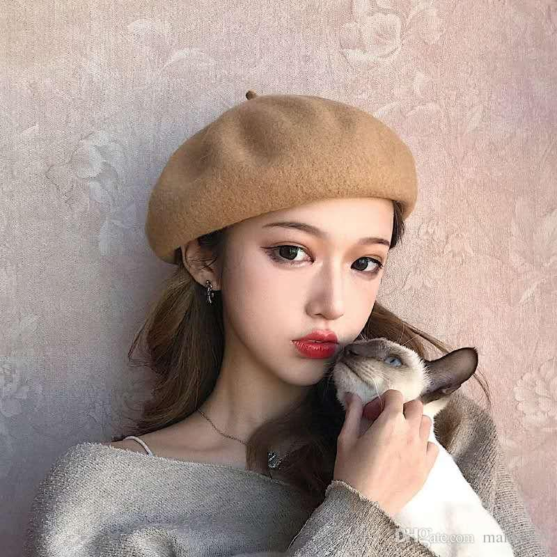 bbf29b7bc7900 2019 Autumn Winter Beret Hat Cap Woman Stereoscopic Vintage Quietness Art  English Joker Western Style Grace Wool Blend From Manly965