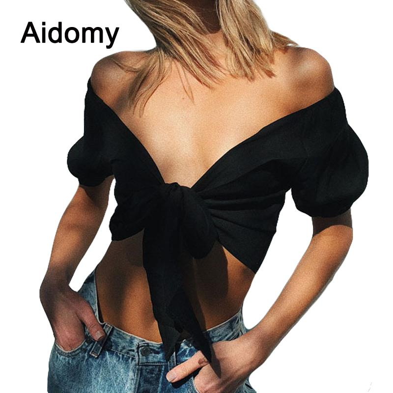 ed780f494f9e3 2019 Bow Tie Crop Top Women Short Sleeve V Neck Tank Tops Summer Casual  Beach Party Wear Off Shoulder Shirts Black Tee Tops Female From Beimu