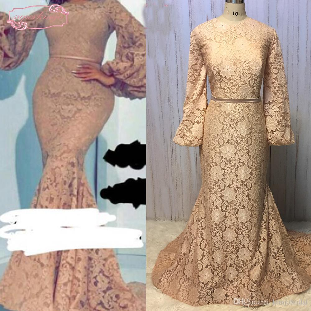 2018 Champagne Real Prom Dresses Long Sleeve Lace Mermaid Champagne Floor Length Long Evening Dresses Gowns Arabic