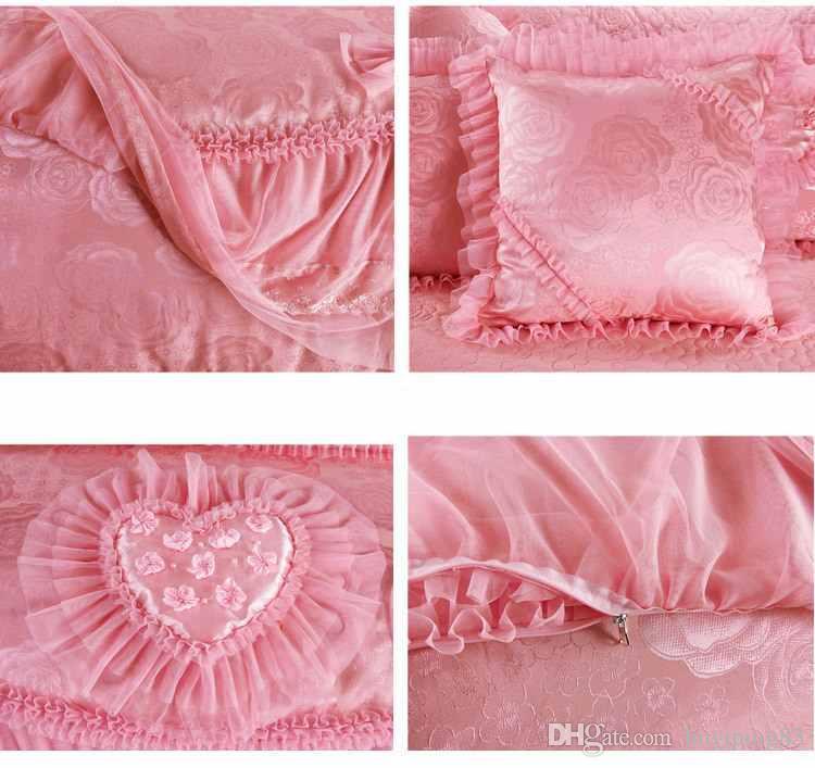 Em forma de coração rosa jogo de cama de luxo rainha do rei roupas de cama de casamento cama lençóis de algodão set Princesa Lace capa de edredão