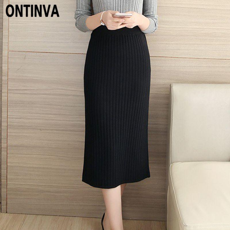 d51a749ba 2019 Winter Fashion Knitted Pencil Skirt Elegant Women High Waist Black  Slim Split Bodycon Knitwear Jupe Saias Midi Elastic Skirts From Sogga, ...