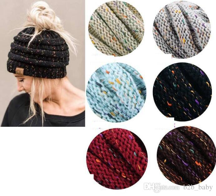 Women Cc Cap Fashion CC Ponytail Knit Hat Fashion Girl Women Winter Warm Hat  Winter Knitted Warm Holey Hats Beanie KKA3775 Ponytail Cap Cc Cap Cc Beanie  ...