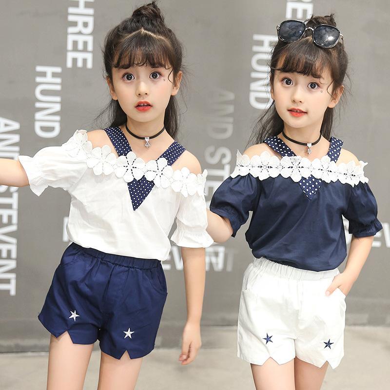 28d7e5c2f 2019 Girls Summer Clothing Suit For Children V Neck Flower Top + ...