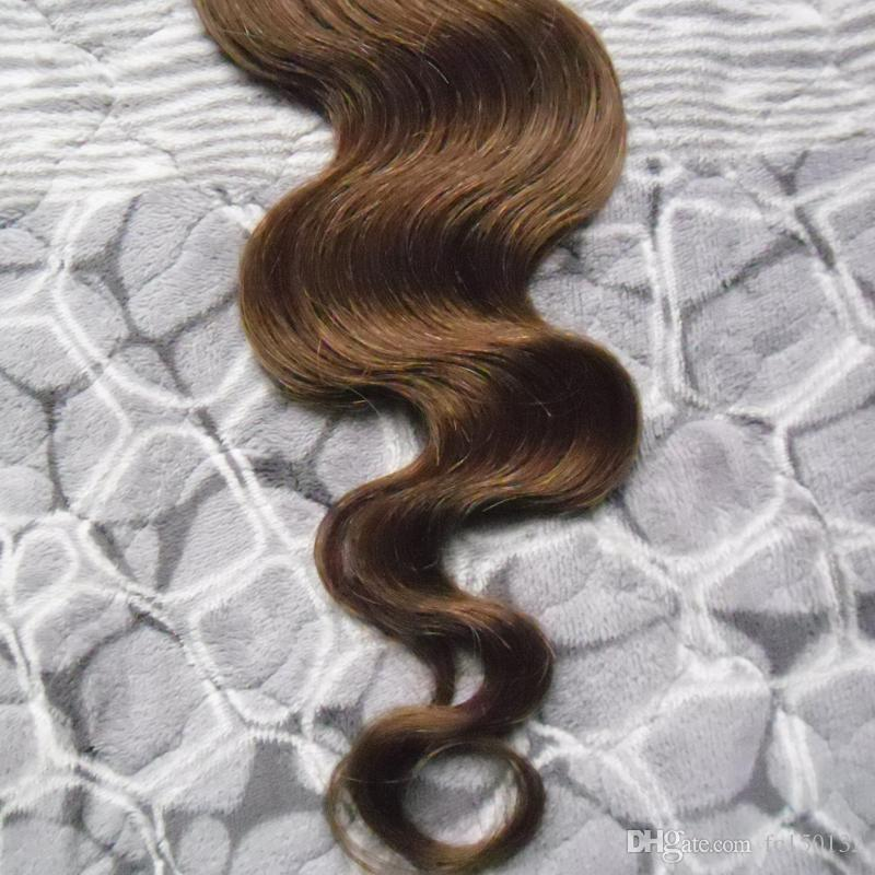 Color #4 Dark Brown Package Pu Tape in 100% Remy Human Hair Extensions Hair Tape 100g Body wave Tape In Human Hair Extensions