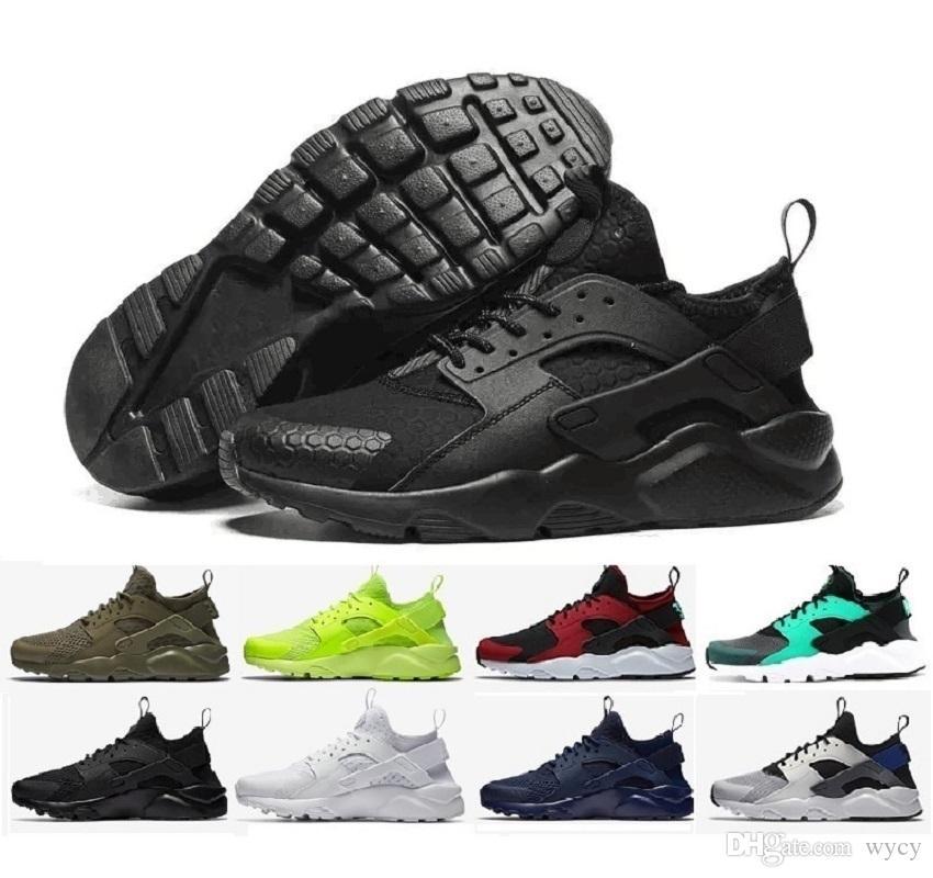 más nuevo 2017 nike aire Huarache 4 IV zapatos casuales para hombres mujeres, negro blanco zapatillas de alta calidad Triple Huaraches calzado