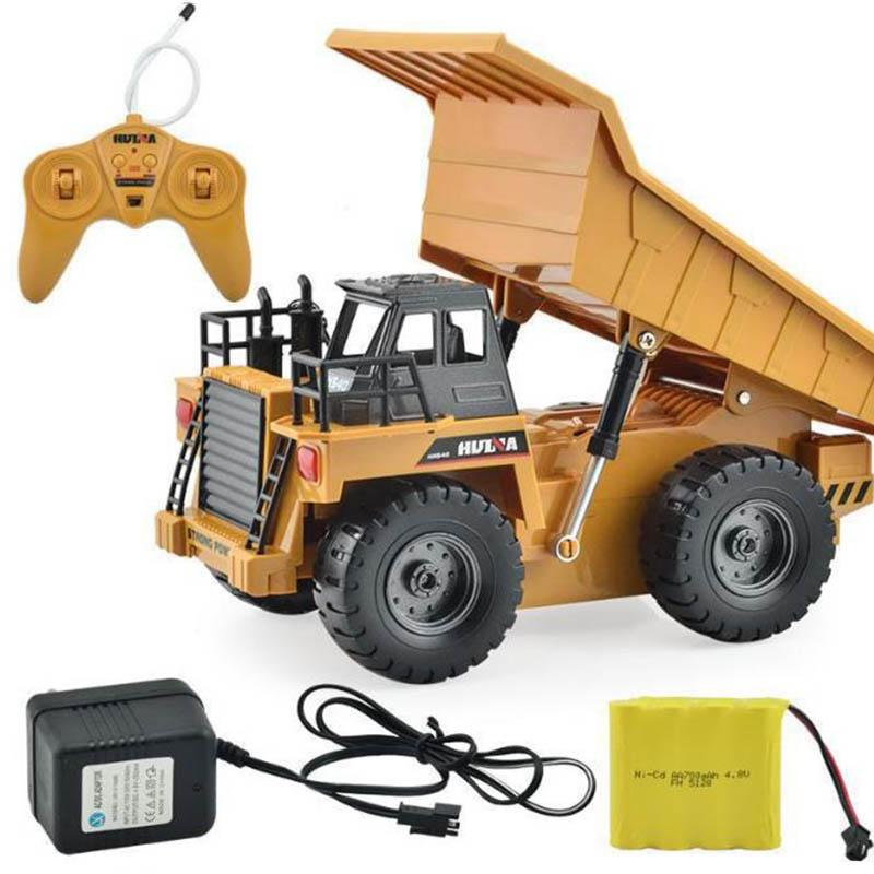 RC Truck 2.4G 6 Channel Remote Control 540 Metal Dump Truck 4 Wheel Realistic Machine toys