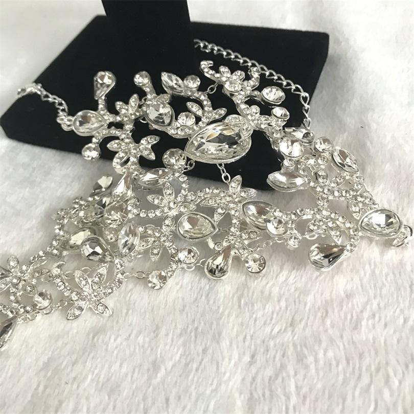 Luxury Statement Pave Crystal Rhinestone Arm Hand Chain Cuff Copper Bracelet Wedding Bridal Celebrity Belly Dancer Jewelry