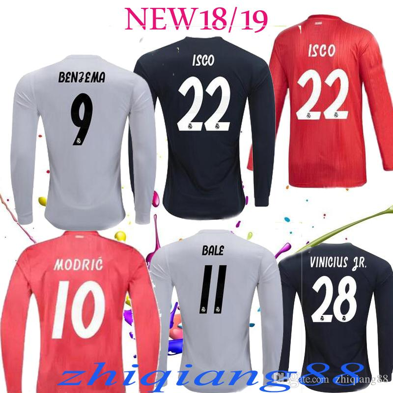53741108303 18 19 Real Madrid Long Soccer Jersey MODRIC CR7 Long Sleeves Home ...