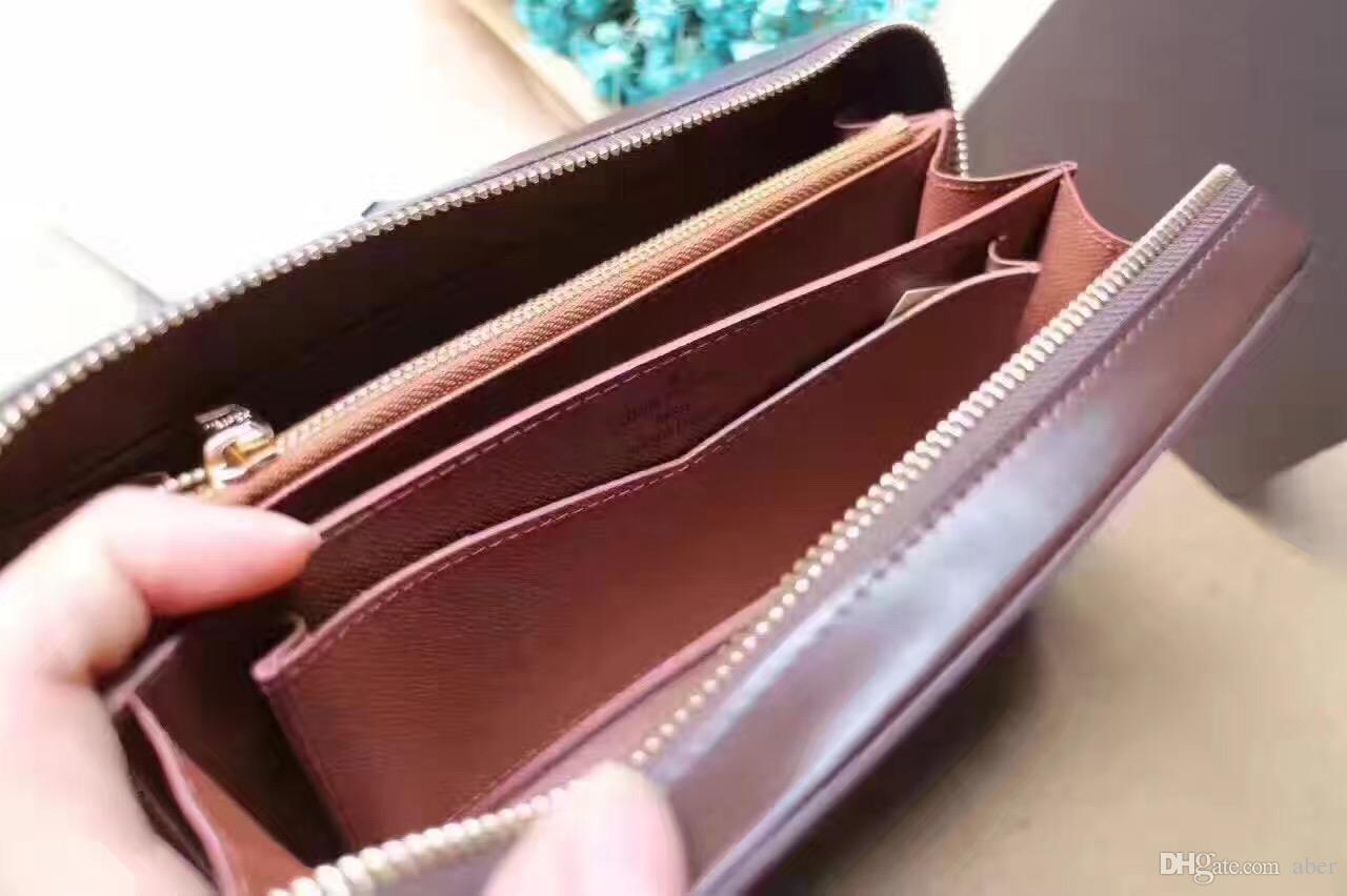 183ded9d3ddf Hot Zippy XL Wallet travel case Black Purse Men Real Epi Leather 61506  Brown Passport bag Holder designer Damier Ebene clutch round zipper