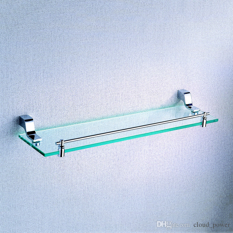Chrome Single Glass Shelf 20.5-Inch Wall Mounted Storage Holder ...