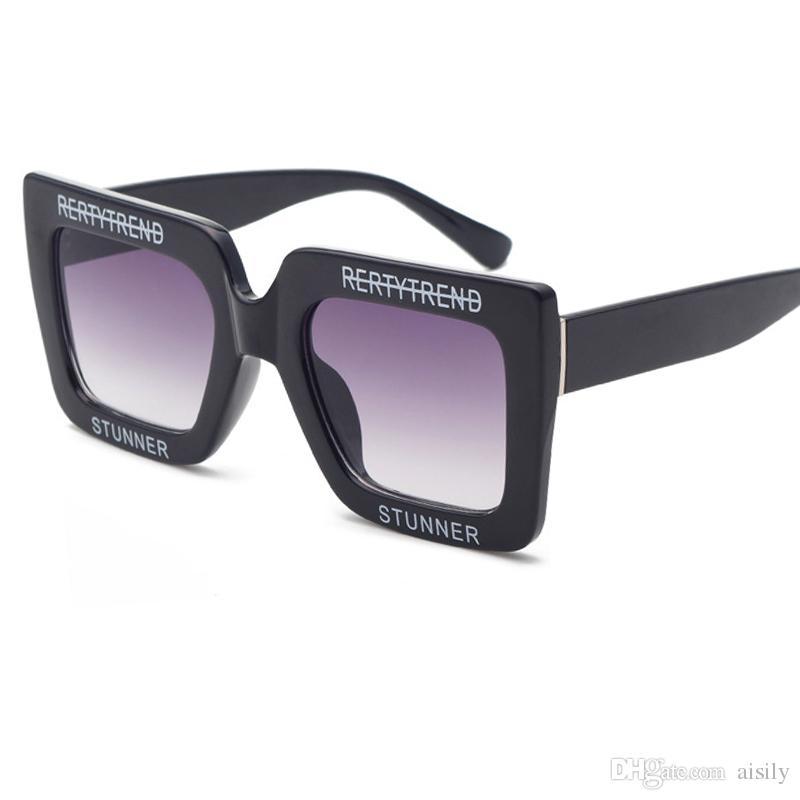 0294160d50 2018 Retro Square Sunglasses English Letter Box Sunglasses Men Woman Brand  Glasses Designer Fashion Brand White Frame Visor Mirror UV400 L18 Online ...