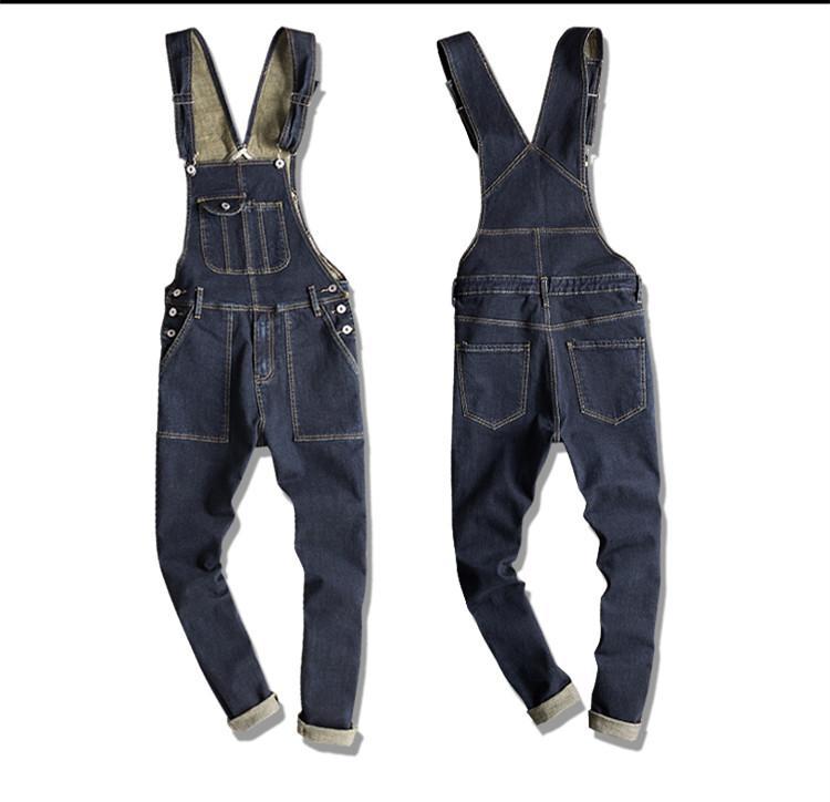 Compre Estilo Japonés Para Hombre Casual Denim Bib Pantalones Largos Largos  De La Liga Primavera Otoño Jeans Mono Para Hombres   Mujeres Trabajo Overol  A ... daf0a7fe040