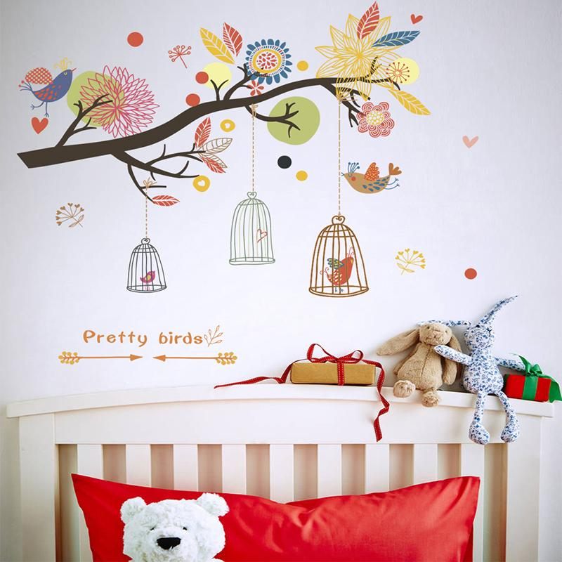 colorful flowers birdcage tree wall stickers for nursery kids rooms