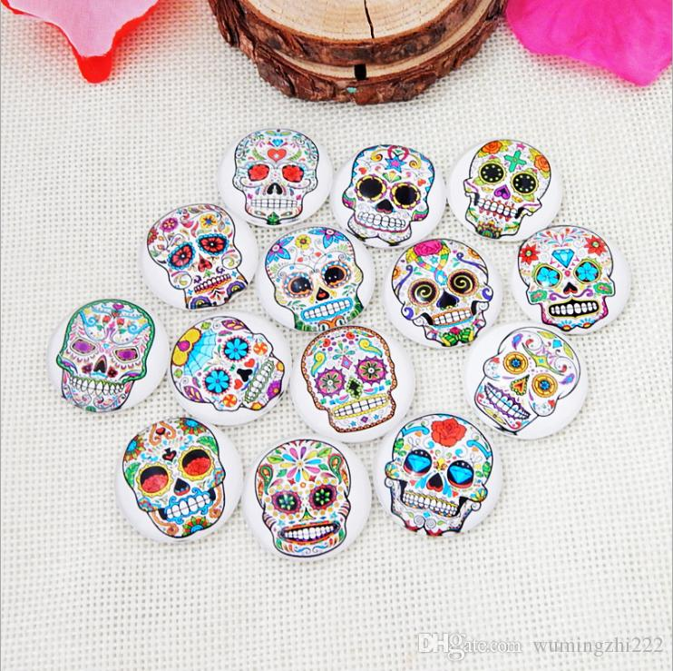 2018 HOT selling Colorful skull galss Snap button Charm Popper for Snap Jewelry picture pendant