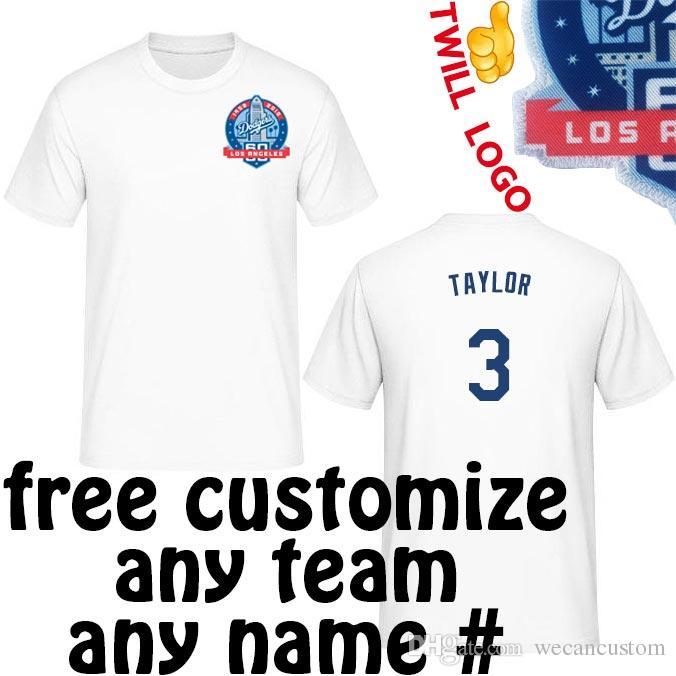 f33aa40faf1f5 Compre Camisas De Los Angeles Dodgers Camiseta Camisa Do T Shirt Do Jérsei  Do LA Dodger De Sew Camiseta De Wecancustom