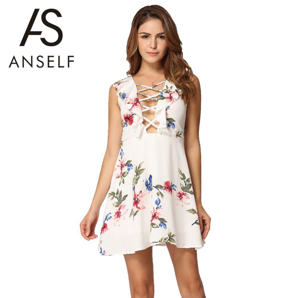2017 Sexy Women Mini Dress Floral Print Plunge V Neck Sundress Female Lace  Up Ruffled Sleeveless Summer Beach Dress XL Vestidos Designer Evening Dress  ... 30f4afefa3