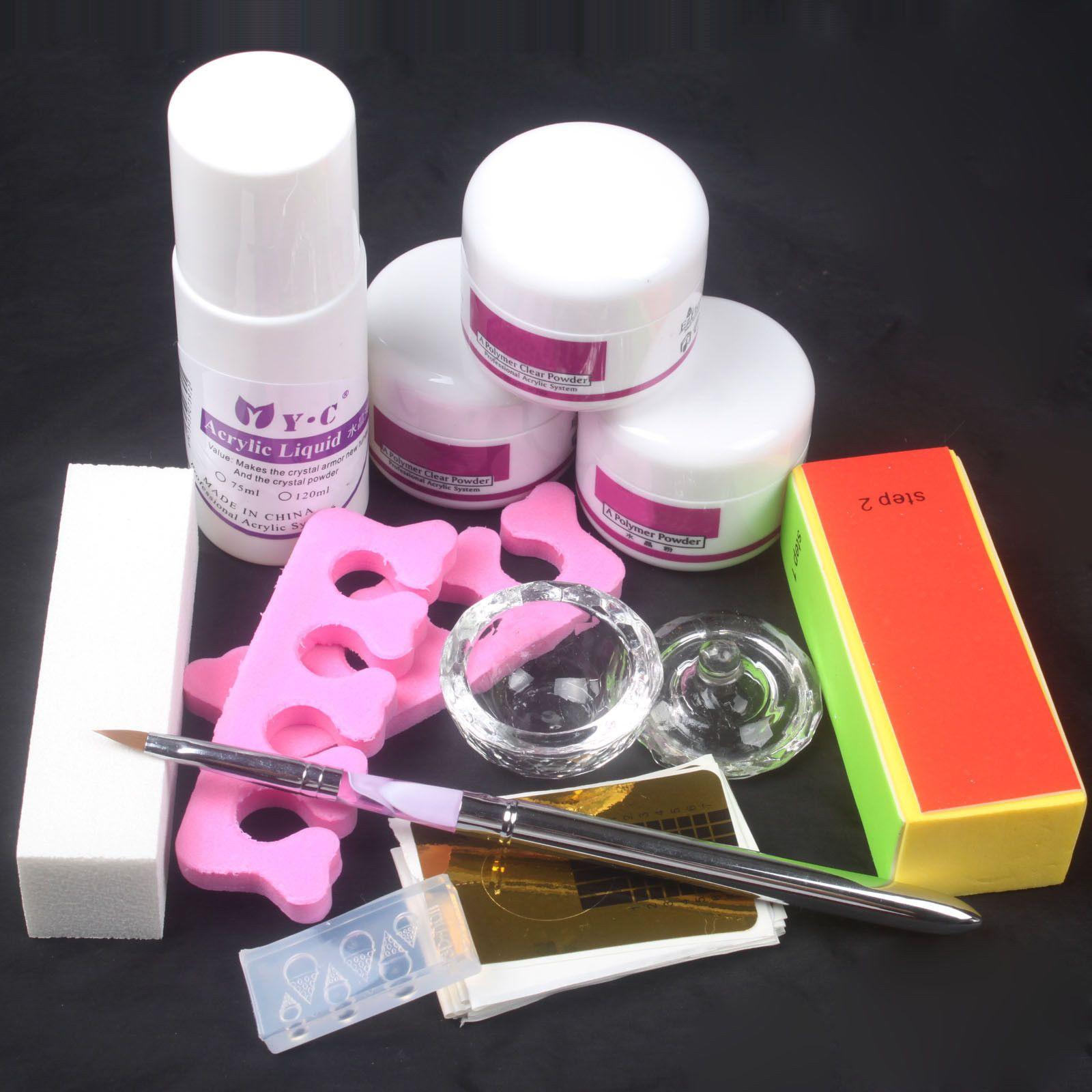 Hot Sale White/Pink/Clear Acrylic Powder Liquid Nail Art Kit Pen ...