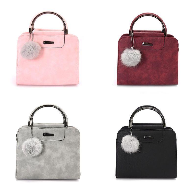 80211fa7ad Fashion Leather Shoulder Bag Ball Pendant Tote Purse Crossbody Messenger Handbag  Designer Bags Famous Brand Women Bags 2018 Discount Designer Handbags ...
