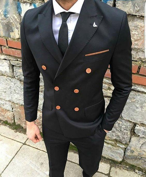 2019 Latest Coat Pant Designs Black Mens Tuxedo Men Suit Blazer