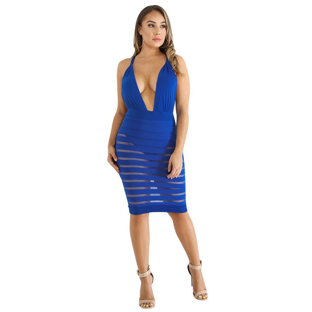Acquista Vestito Sexy Abbigliamento Donna Estate Senza Maniche Skinny Blu  Aderente Abito Backless Net Filato Patchwork Prospettiva Vestire Vestidos A   29.22 ... c6036ea5faa