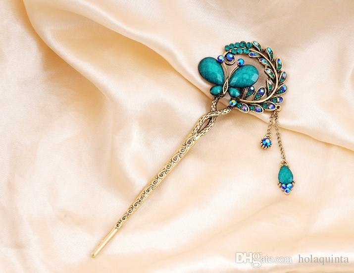Women Elegant Butterfly Leaves Bobby Pin Fashion Hairpin Rhinestone Hair Stick