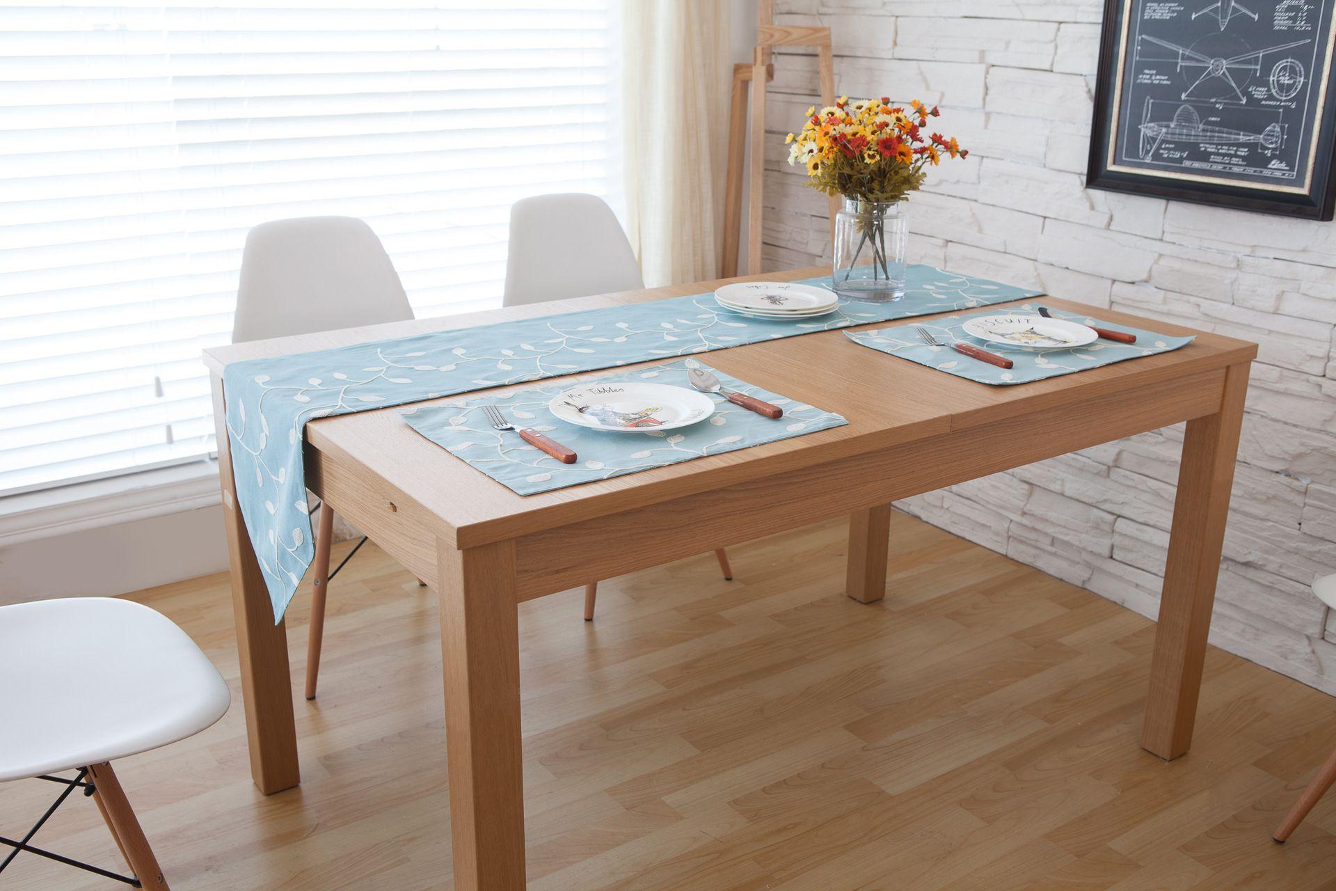 acheter fait main bleu blanc fleur coton linge chemin de table